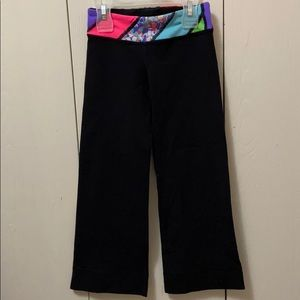 Ivivva Black Exercise Pants with Bright Waistband